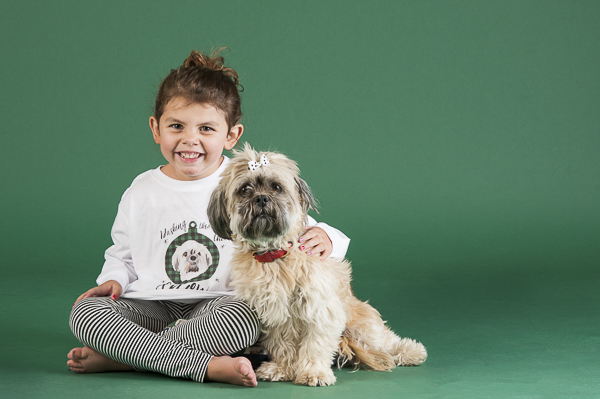 little girl sitting with Shih Tzu, dog photography, dog training