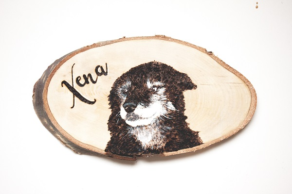 dog portrait made with wood burning tool and acrylic paints on pine