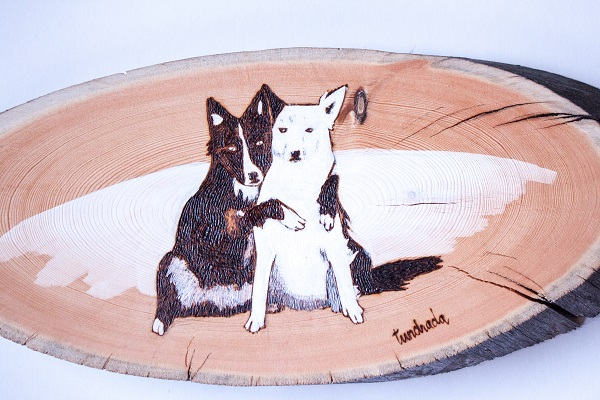 Border Collie hugging another dog, tundrada- custom-dog-portraits-on-wood