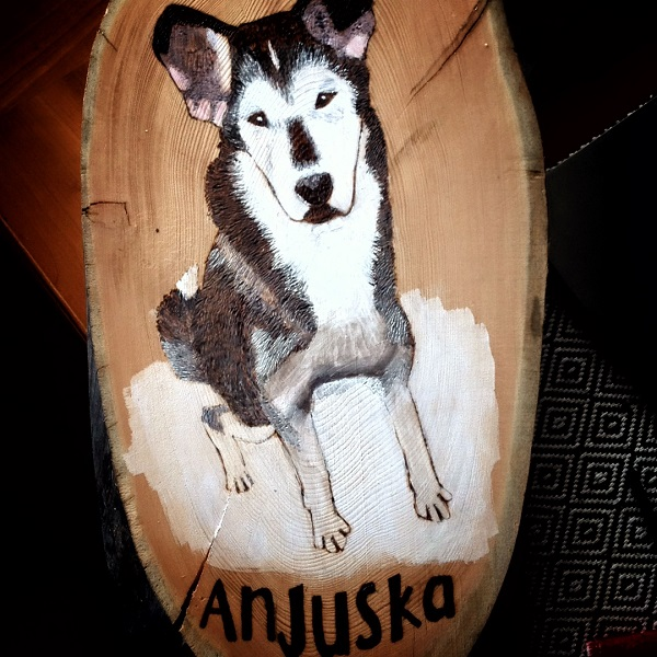 Custom portrait of sled dog, tundrada-wood-burned-dog-portraits