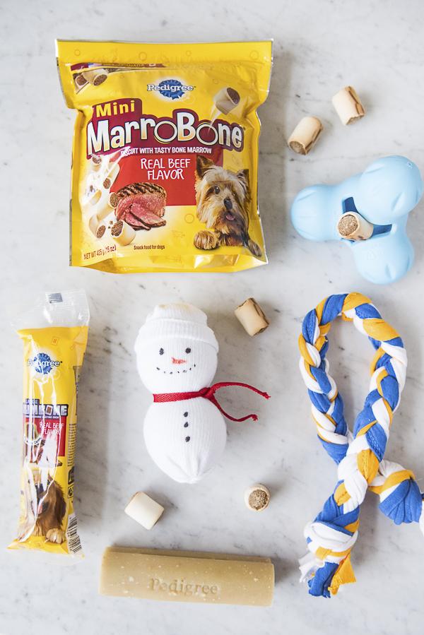 DIY snowman toy, dog treats, DIY tug toy, #PAWsomeGifts #ClausAndPaws PEDIGREE® Marrobone® Mini Beef Flavor Dog Snacks