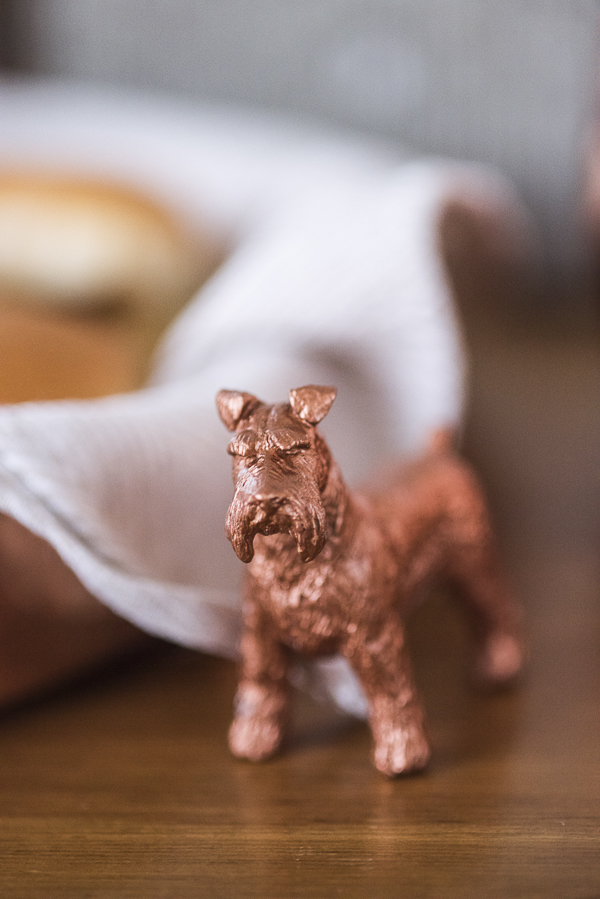 copper spray painted plastic dog, Puppy Bowl Party Ideas