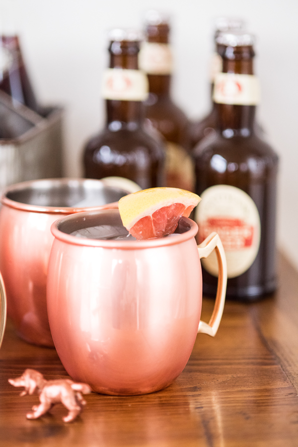 Moscow mule with red grapefruit garnish and ginger beer | Puppy Bowl party ideas