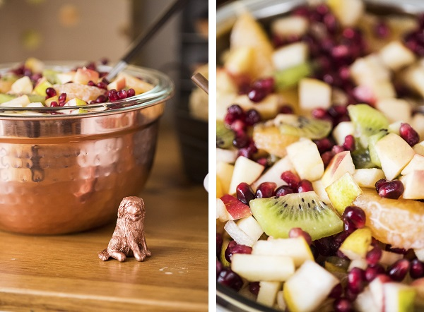 Winter fruit salad, puppy bowl party ideas