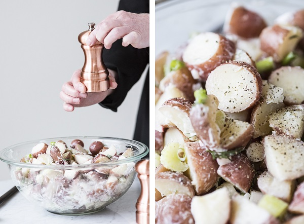 copper pepper grinder, vegan potato salad