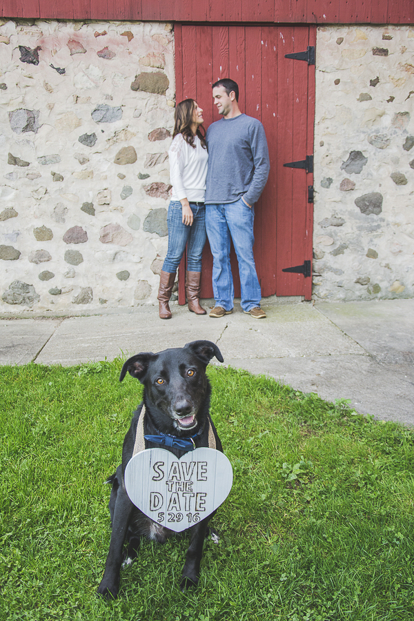 black dog with gray heart shaped Save the Date sign, engagement photos with dogs