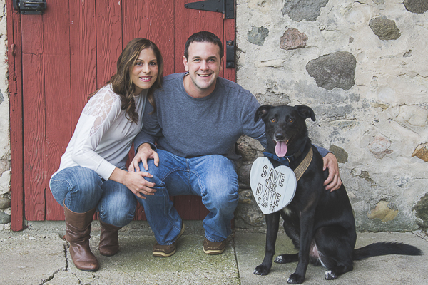 couple, black dog, red door, save the date, engagement photos