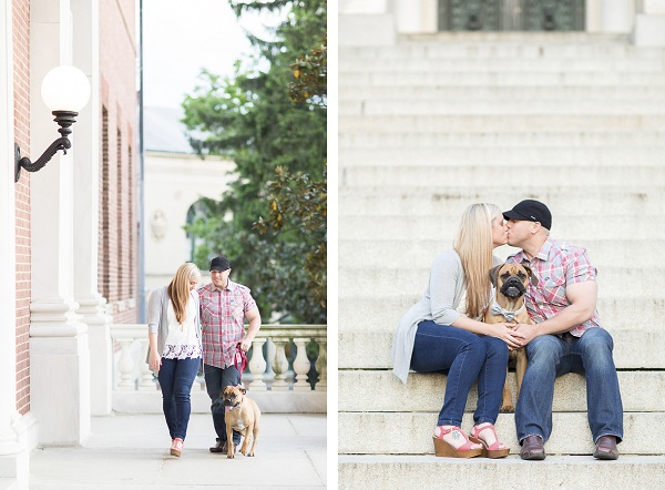 couple, dog, brick courthouse,