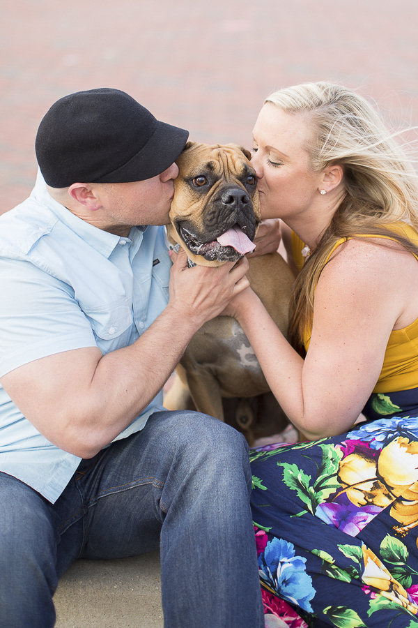 big dog being kissed by man and woman