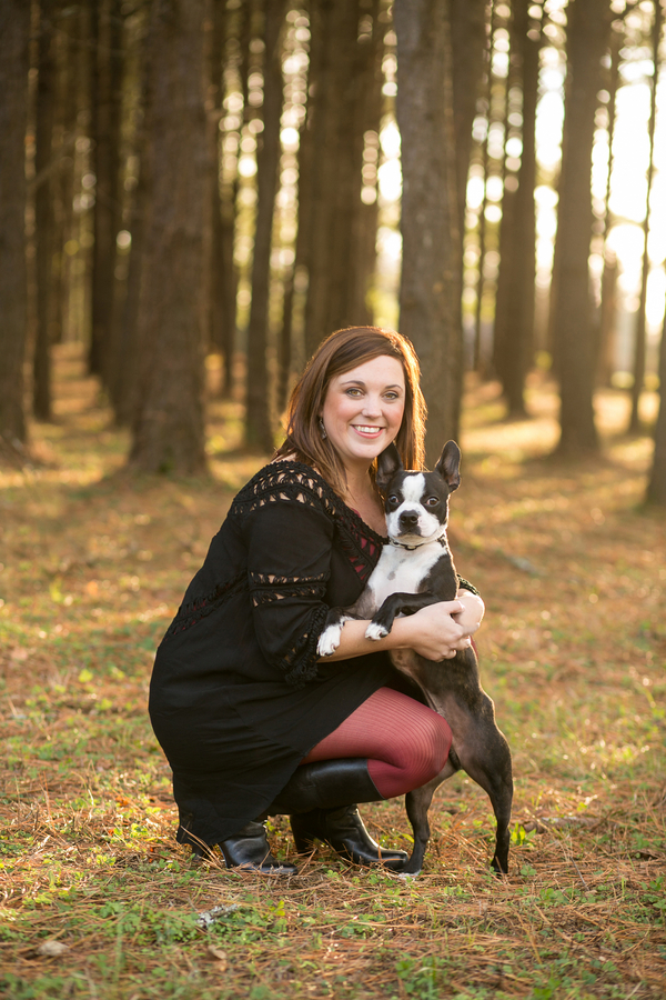 Boston Terrier and woman pine grove, lifestyle dog photography