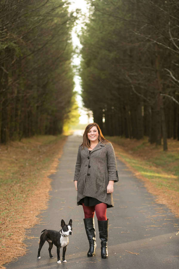 Boston Terrier, woman standing on path, lifestyle dog photographer
