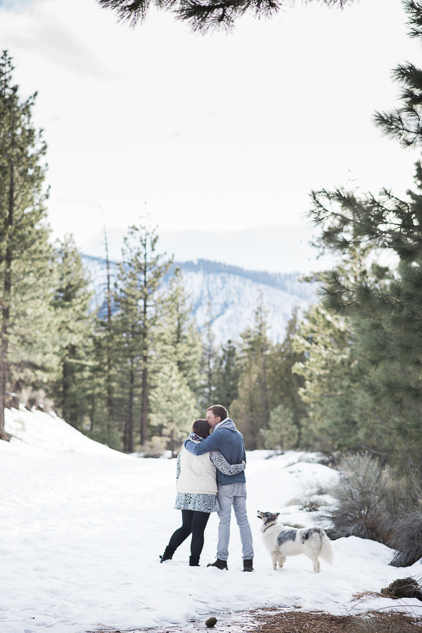 snowy engagement portraits with dog