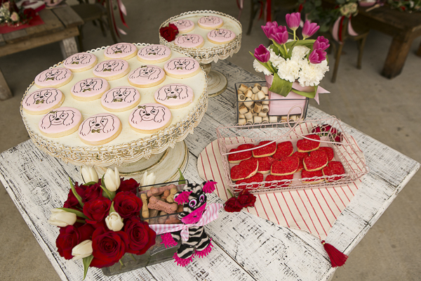 adorable pink Cavalier cookies, red lip cookies for humans, dog party
