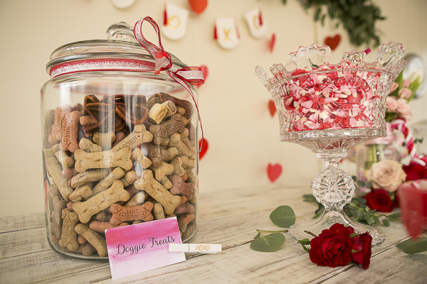 doggie treats in glass jar, dog party tablescape