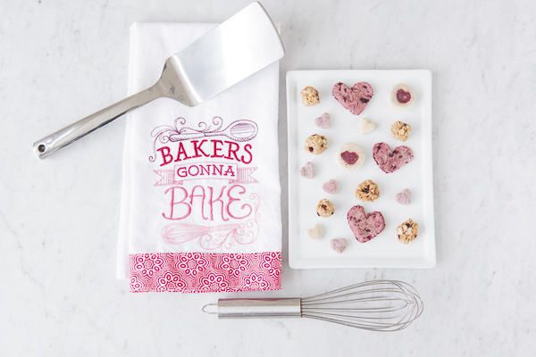 Bakers Gonna Bake tea towel, white tray of grain free dog treats, heart shaped dog treats, DIY Dog