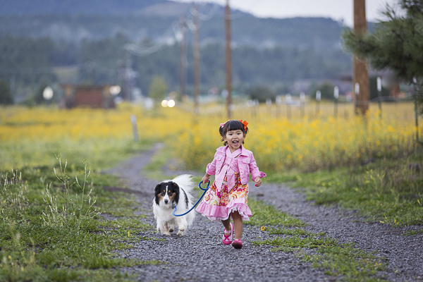Sheltie mix and young girl in pink walking on gravel road,