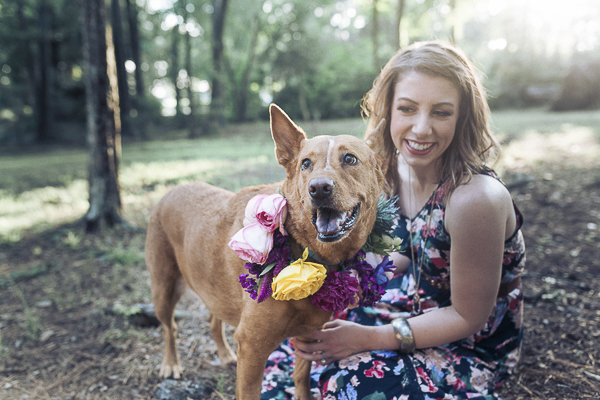 brown dog in floral wreath, woman in floral dress, on location dog photography