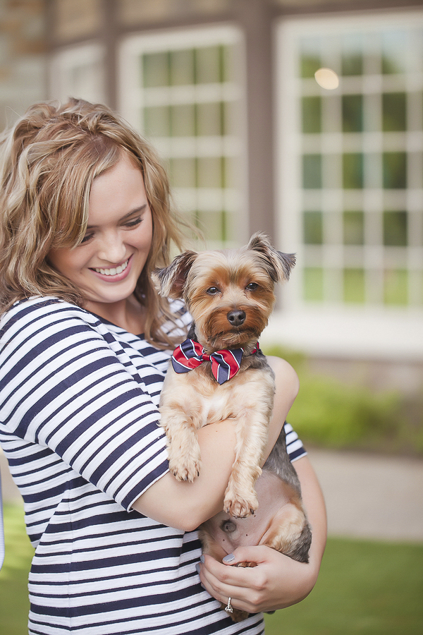 woman in striped dress holding Yorkie in red-blue striped bow tie