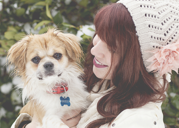 cute mixed breed, woman in white beanie hat, winter lifestyle dog photograper
