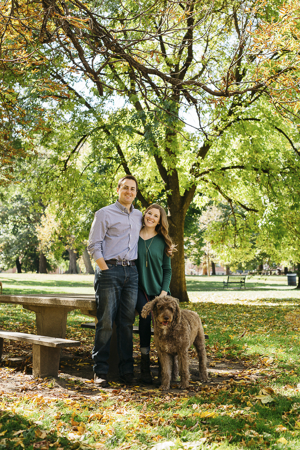 couple and dog at park, fall engagement session