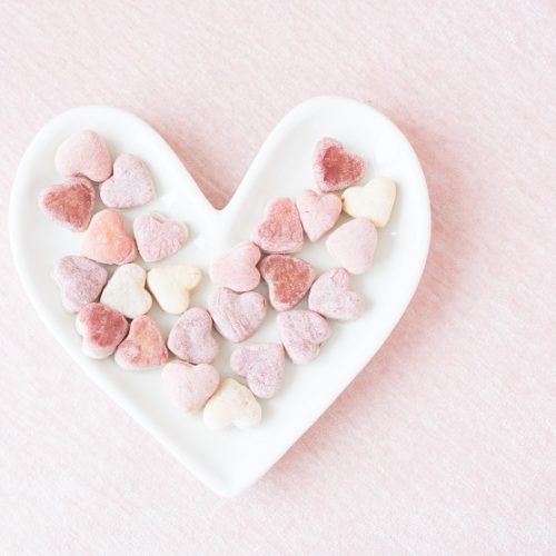 heart shaped dog treats pink and white