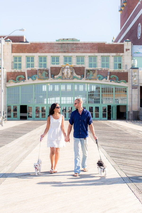 Asbury Park Boardwalk Engagement photos with small dogs