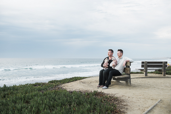 Chihuahuas and their dads sitting on bench looking out at the ocean, Del Mar Beach dog photography