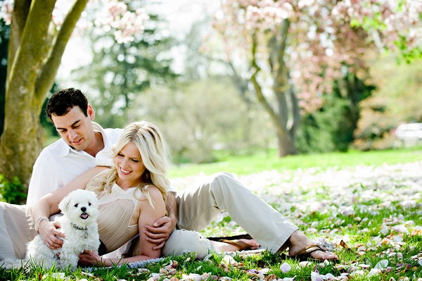 small white dog, couple, spring engagement photos