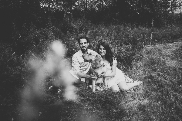 black-white-engagement-portraits with dog