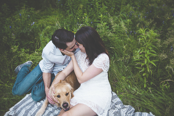 dog, man, woman on blanket, on location engagement photos