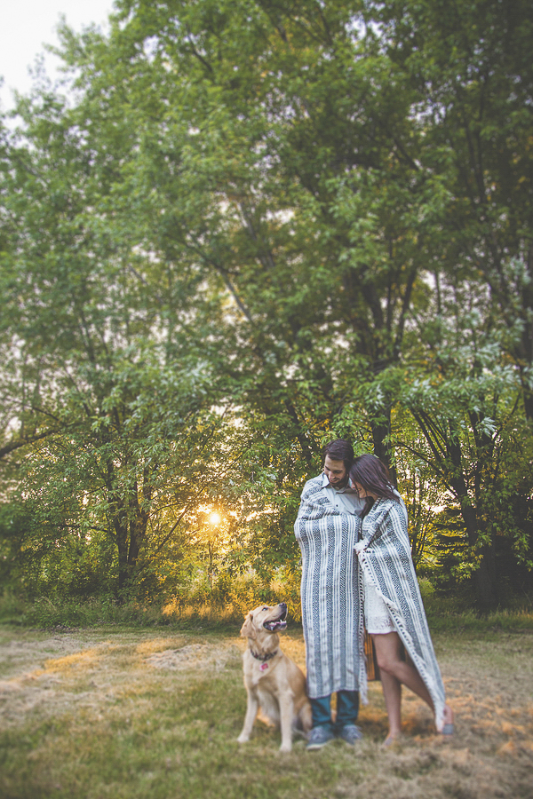 on location engagement photos with dog