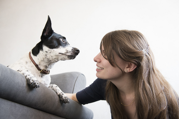 black white terrier mix, young woman, bond between dog and human