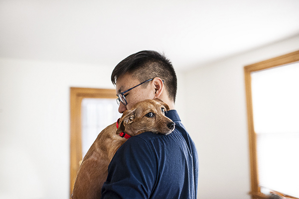 brown Dachshund mix snuggling on man's shoulder