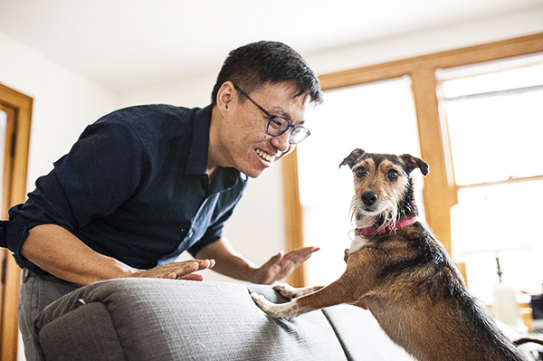 man playing with dog on sofa, lifestyle dog photography
