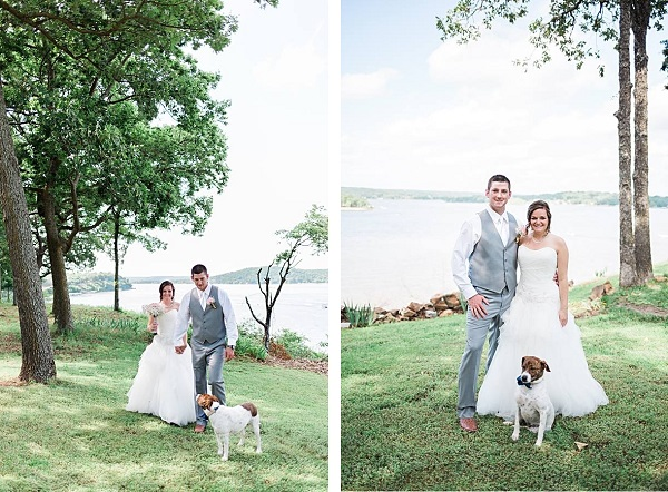 bride, groom and dog, summer wedding on lake