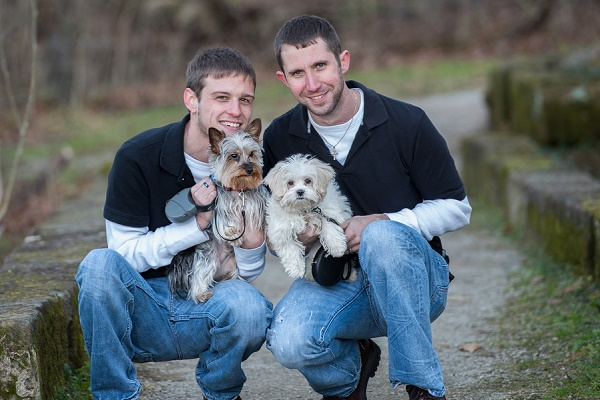 engaged couple and small dogs, on location engagement photography