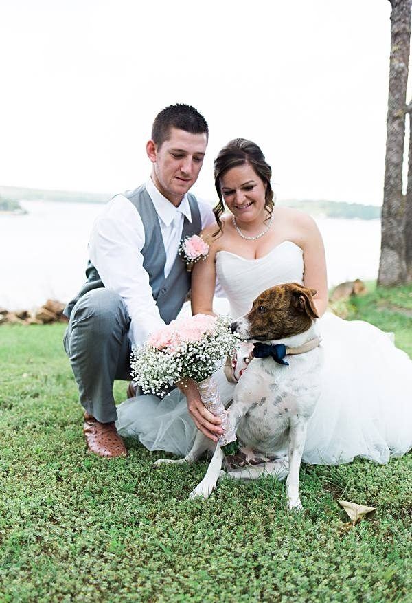 dog smelling wedding bouquet, wedding photos with handsome dog in bow tie, perfect mix breed dog