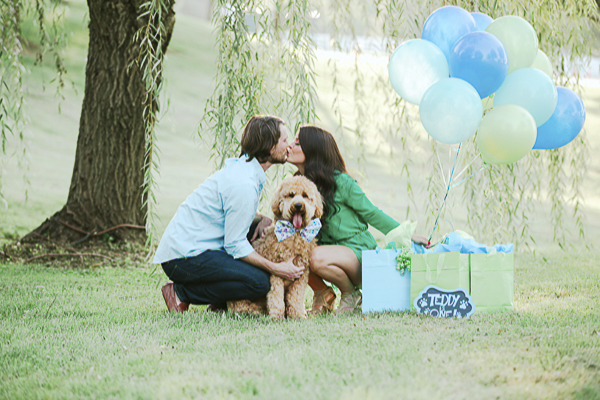 couple kissing over dog's head, dog's first birthday celebration