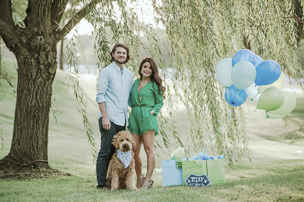 Dog's first birthday party, Golden Doodle, birthday presents, couple, weeping willow tree