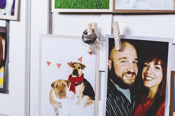 dog photo, wedding rings,