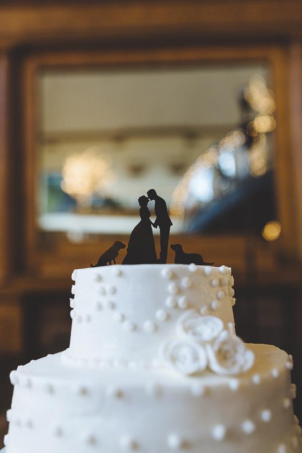 silhouette cake topper, bride, groom, dogs
