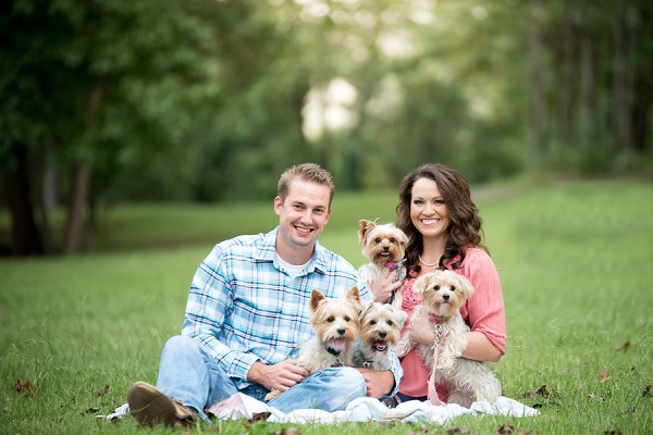 couple with 4 Yorkies, family photo shoot with dogs