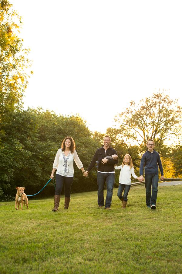 family walking dog, Nashville lifestyle dog photography