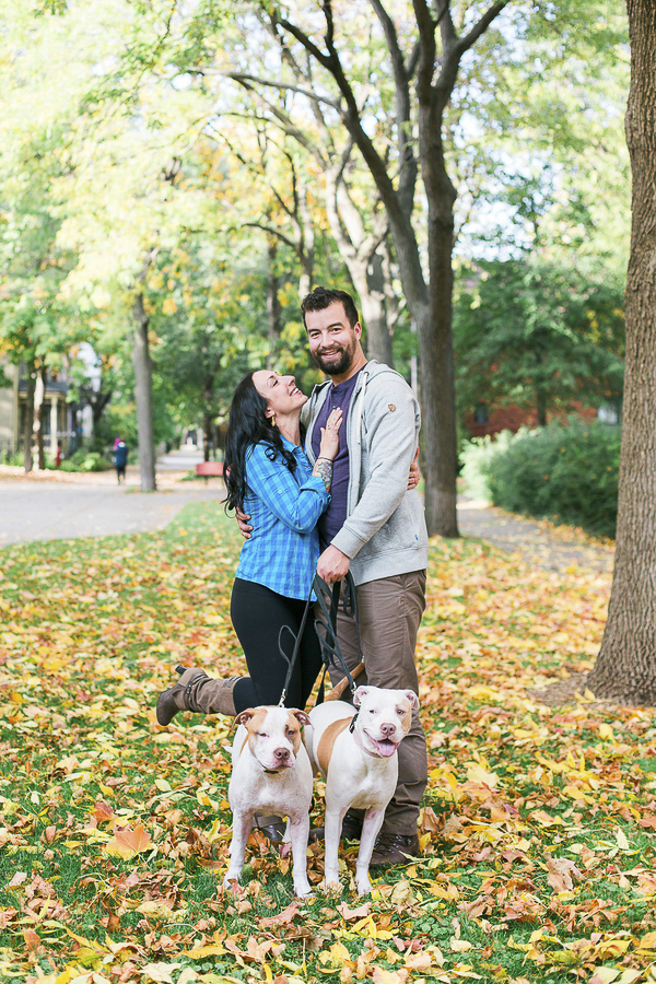 engagement photos with dogs, fall engagement session