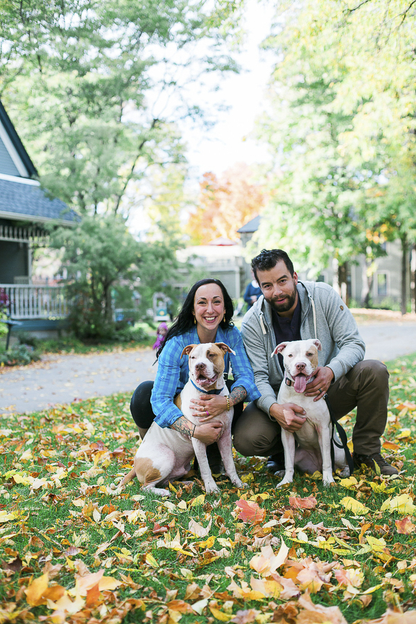 couple and dogs, fall engagement photos