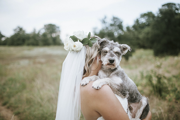 Schnauzer mix and bride, on location bridal portraits ©Emily Nicole Photography