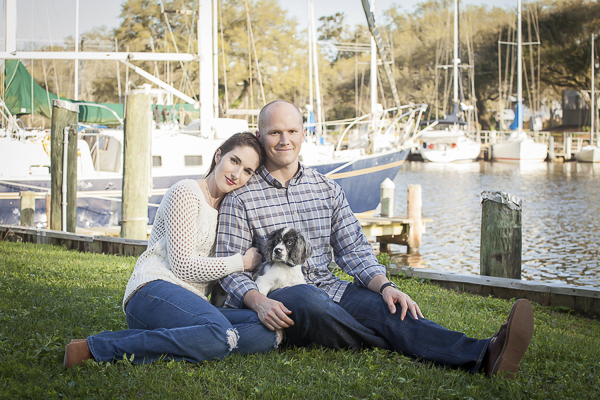 family portraits with puppy at marina