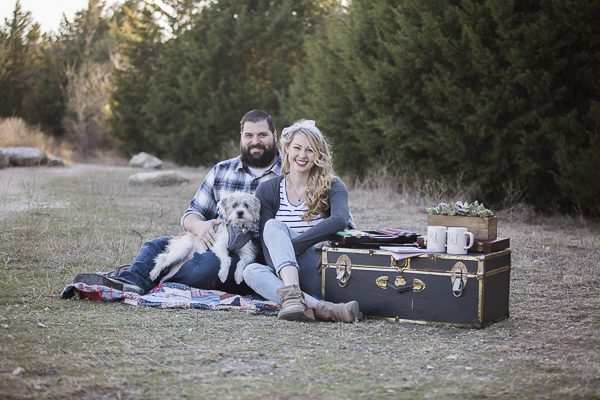 couple, terrier mix, trunk, game night themed engagement photos