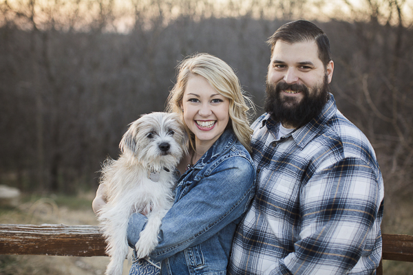 terrier mix, woman in denim jacket, man in plaid shirt, engagement photos with dog