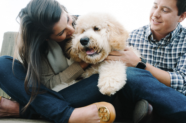 family photos with dog, Golden Doodle